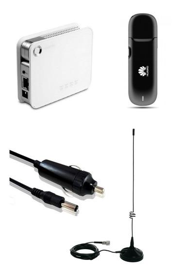 Kit Roteador Wifi Veicular Imã 12v 110/220v 3g 32 Usuários
