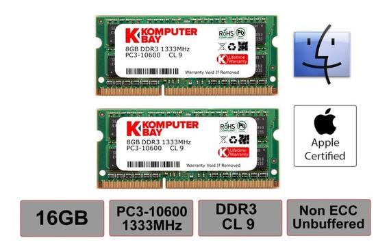 Memoria Ram 16gb Komputerbay Dual Channel Kit 2x 8gb 204pin Ddr3-1333 So-dimm 1333/10600s ( 1333mhz Cl9 ) Para Mac And P