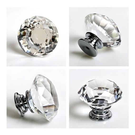 Puxador Cristal Diamante Gaveta Porta Etc 30mm 5 Peças