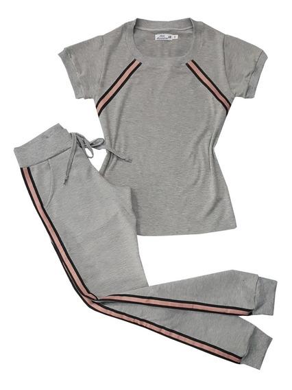 Conjunto Moda Feminina T-shirt E Calça Jogger Cinza Listras
