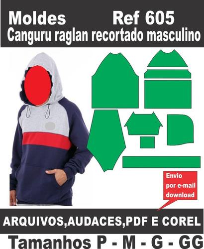Moldes Canguru Raglan Recortado Masculino