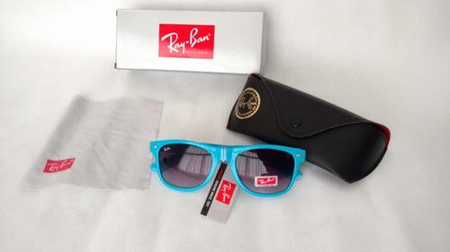 d58b0cf9f Óculos Rayban Wayfarer Azul + Case + Caixa Original + Flanel