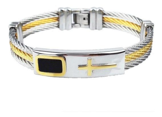 Pulseira Bracelete Masculino Aço Inox Metal Banhado Ouro 18k
