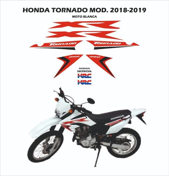 Kit Gráfica Honda Tornado 2018-2019 Moto Blanca