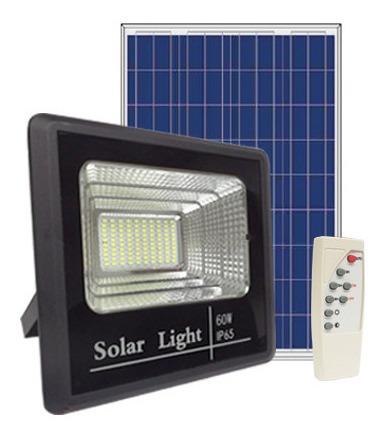 Foco Solar Led 60w + Panel Solar + Control