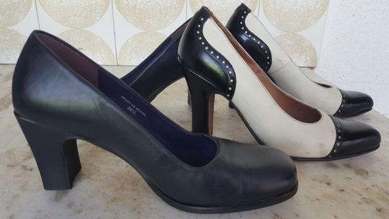 Zapatos 2pares Damas,cuero Vacuno Los2p.hush Puppies.usados.