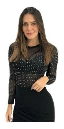 Body Blusa Manga Longa Pedraria De Tule Brilho Strass