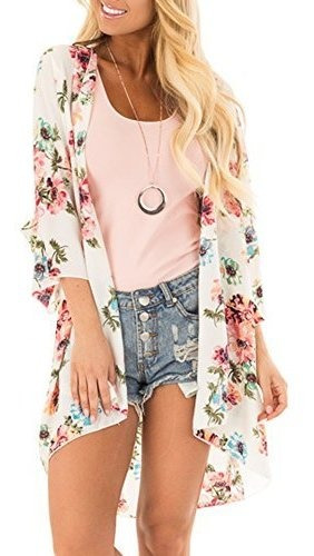 Pinkmilly Mujeres Floral Kimono Impresion Suelto De Gasa Cha