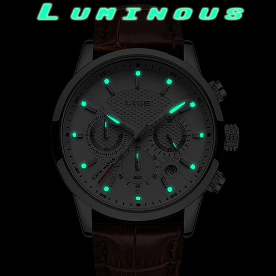 Frete Grátis Relógio Masculino Lige 9866 Original Luxo C/ Cronógrafo Funcional E Calendário Automático Pronta Entrega