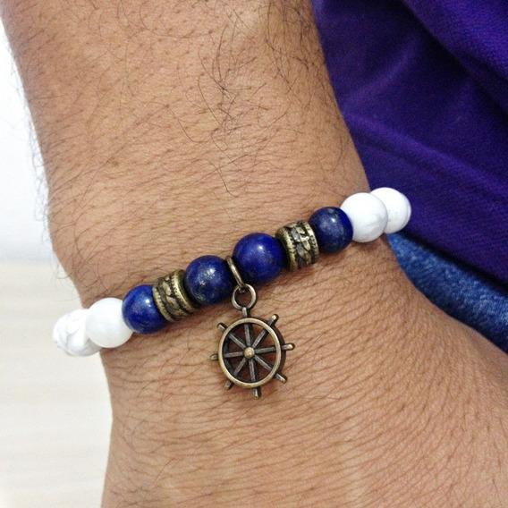 Pulseira Pedras Naturais Howlita Lapis Lazuli 8mm Leme Ancora Navy Marinha