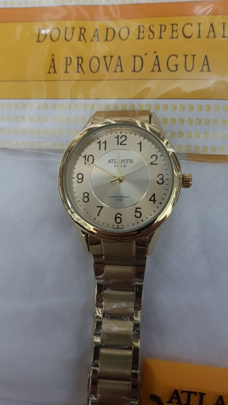Relógio Atlantis Feminino Dourado W3456 + Nota Fiscal !!!