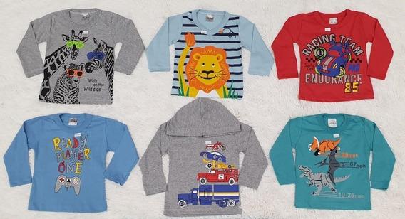 Kit 4 Camiseta Manga Longa Masc Fem Infantil Roupa Inverno