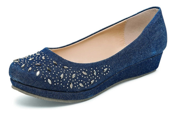 Zapato Flats Casual Quiero Shoes Modelo 723 Color Azul