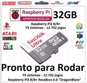 Micro Sd 32gb Raspberry Pi3 B/b+ 79 Sistemas - 12.702 Jogos