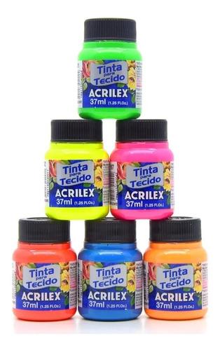 12x Tinta Para Tecido Fluorescente Neon Acrilex 37ml *escolh