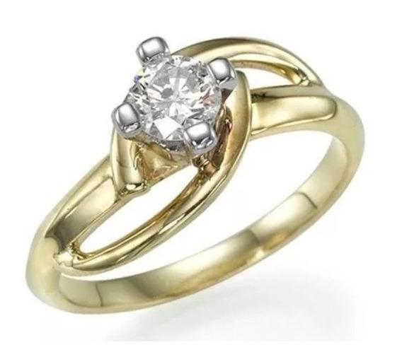 Anel Solitário De Ouro 18k Casamento + Diamante De 15 Pontos