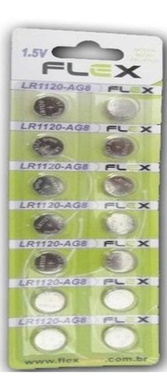Bateria Pilha Lr1120 Ag8 Com 14 Peças Original Flex - 9579