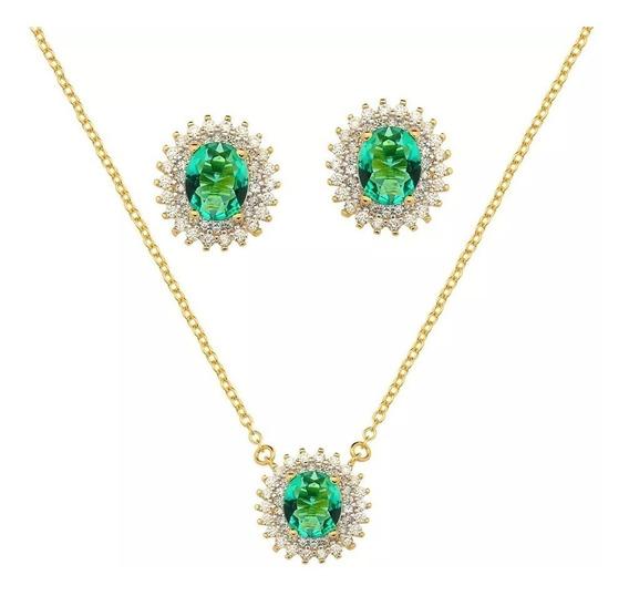Conjunto Colar Brinco Pedra Verde Esmeralda Folheado Ouro