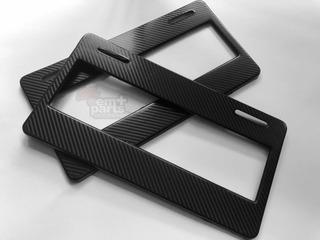 Par (2) Porta Placas Universal Estilo Fibra De Carbono