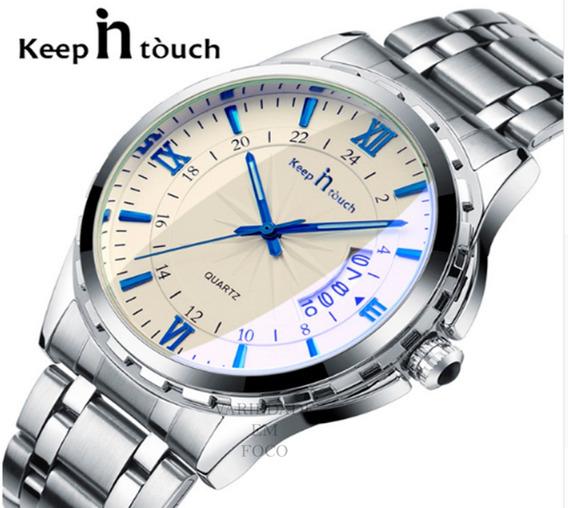 Relógio Masculino Pulseira Aço C/ Calend. Resistente A Àgua
