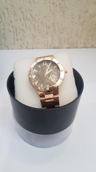 Relógio Dourado Com Pedras Feminino