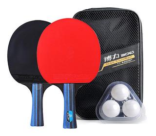 Raquete De Tênis De Mesa Set 2 Pás De Ping Pong E 3 Ping Pon