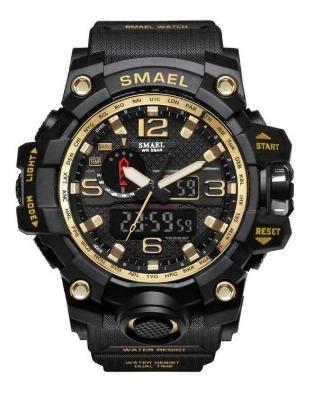 Relógio Smael Tático Militar Prova D´água S-shock Dourado