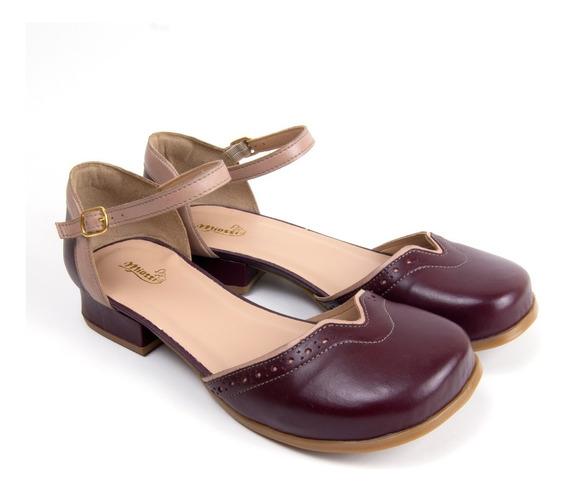 Sandália Feminina Confortável Sapatofran Costurada Em Couro
