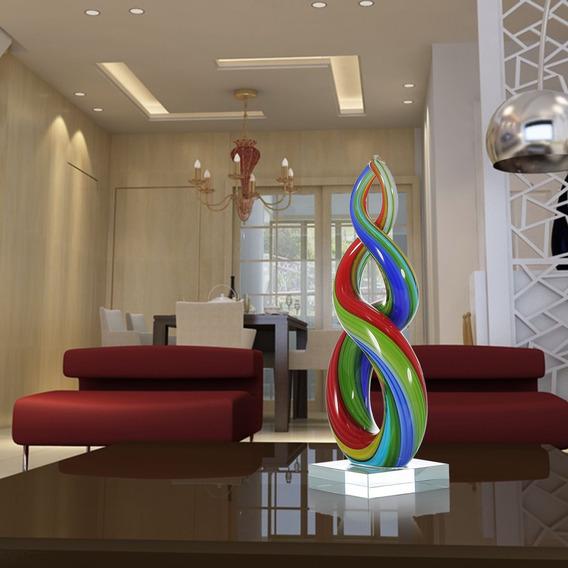 Tooarts Escultura De Vidro Da Fita Colorida Home Decor