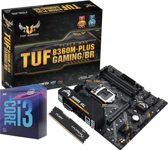 Kit Processador Core I3 9100f Placa Tuf B360m Plus Gaming/br Memoria Fury 8gb 2400mhz
