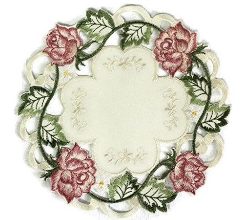 Tapete Redondo O Mantel Individual Bordado Con Rosas Rosadas