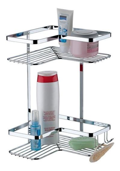 Suporte De Canto Sabonete Shampoo Duplo Cromado 1103 Future