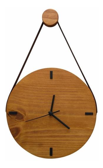 Relógio De Parede Escandinavo De Madeira Rústico Com Alça