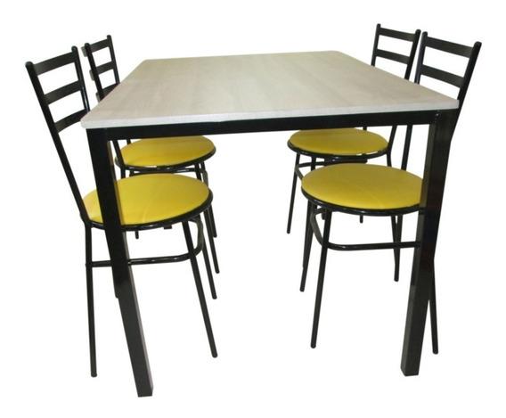 Jogo De Mesa Retangular Com 4 Cadeiras P/ Refeitórios Bares