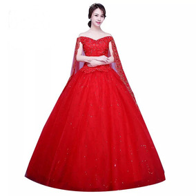 Vestido De Xv 15 Años Rojo Con Capa Lentejuelas Pedrería