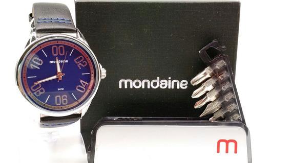 Kit Relógio Mondaine Dourado Fundo Azul 76621 G0mvnh1