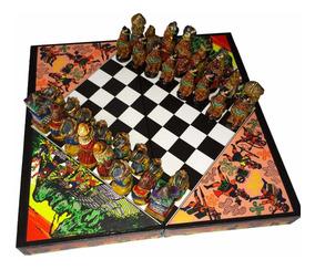 Xadrez Espanhol X Astecas Tabuleiro Jogo Artesanal 27cm