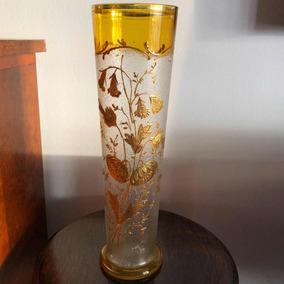 Antigo Vaso Em Fino Cristal Francês Baccarat Pintado Ouro