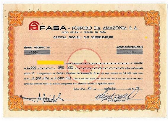 Açoes Da Fasa - Fosforo Da Amazonia S.a. - Anos 70