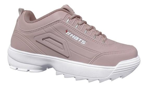 Kit 2 (dois) Tênis Feminino/masculino Whats Modinha Branco/rosé Casual Confortável
