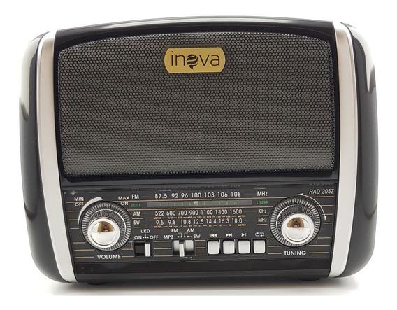 Rádio Retro Vintage Recarregável Am Fm Sw Usb Sd Aux Bateria
