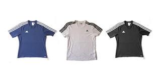 Kit 3 Camisas adidas Azul, Branco E Preto Climalite Original