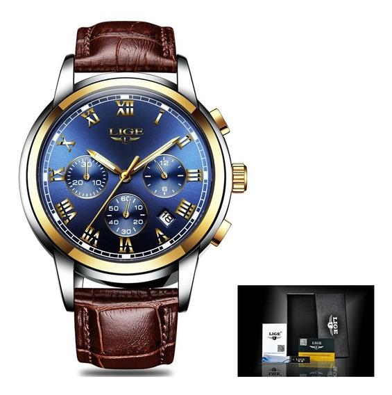 Relógio Lige 9810 Luxo P. De Couro Cronógrafo A Prova D Água