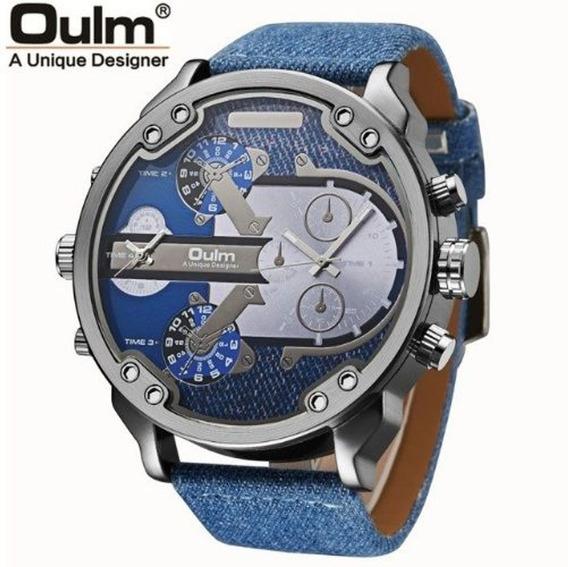 Relógio Masculino Grande Duas Máquinas Mostrador 5,6cm Oulm