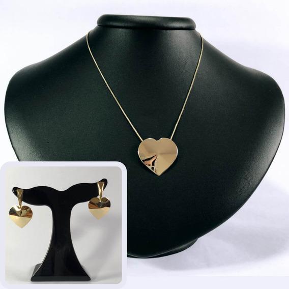 Colar Feminino Coração Com Brincos - Corrente Ouro Folheado