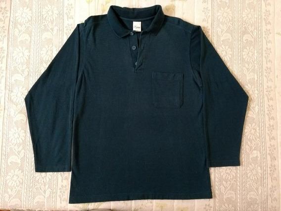 Camisa/camiseta Polo Manga Longa- Azul- Masculino- Malwee