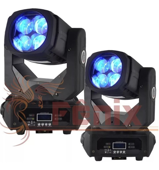 2 Moving Led Super Beam 100w 4 X 25w Caleidoscópio Disco Cor