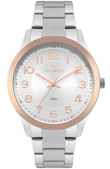 Relógio Technos Feminino Prateado E Rose 2035mpu/5k