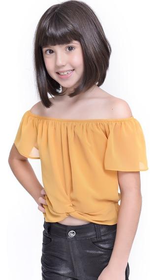 Blusa Infantil Amofany Ciganinha Cropped Com Amarração