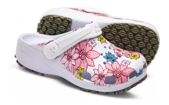 Crocs Antiderrapante Adulto E Infantil Estampado Flor